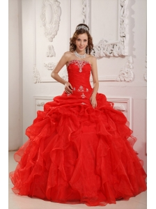 Elegant Red Sweet 16 Dress Strapless Organza Beading And Ruffles Ball Gown