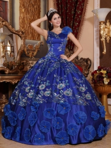 Exquisite Blue Quinceanera Dress V-neck Satin Beading and Appliques Ball Gown