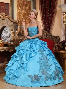 Gorgeous Aqua Blue Quinceanera Dress Strapless Taffeta Appliques Ball Gown