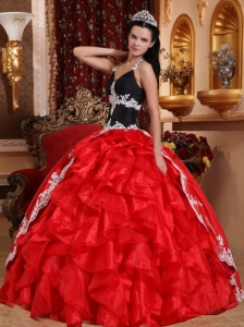 Gorgeous Red and Black Quinceanera Dress V-neck Floor-length Taffeta and Organza Appliques Ball Gown