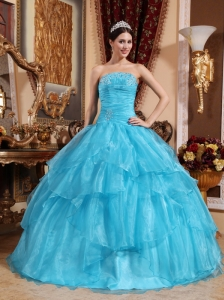 Aqua Blue Quinceanera Dress Strapless Organza Beading Ball Gown