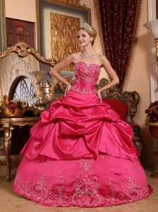 Hot Pink Quinceanera Dress Sweetheart Taffeta Embroidery with Beading Ball Gown