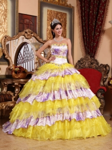 Inexpensive Multi-color Quinceanera Dress Sweetheart Organza Beading and Ruffles Ball Gown