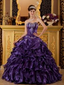 Modest Purple Sweet 16 Dress Sweetheart  Ruffles Organza Ball Gown