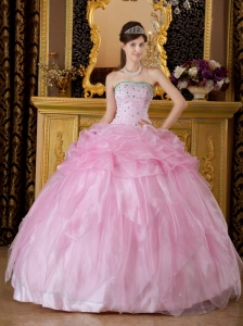 New Baby Pink Sweet 16 Dress Strapless Organza Beading Ball Gown