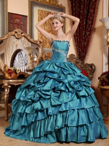 Popular Teal Quinceanera Dress  Strapless Taffeta Appliques and Pick-ups Ball Gown