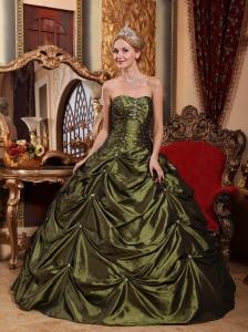 Pretty Olive Green Quinceanera Dress StraplessTaffeta Beading Ball Gown