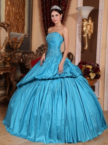 Romantic Teal Quinceanera Dress Strapless Taffeta Beading Ball Gown