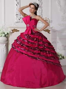 Wonderful Hot Pink Quinceanera Dress Strapless Zebra Beading Ball Gown