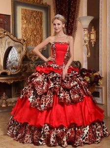 Brand New Red Quinceanera Dress Strapless Taffeta and Leopard Pick-ups Ball Gown