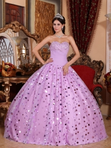 Classical Lavender Quinceanera Dress Sweetheart Tulle Sequins Ball Gown