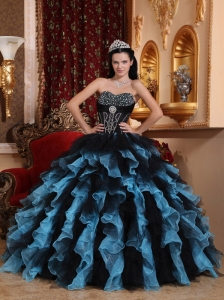 Black and Sky Blue Exclusive Quinceanera Dress Sweetheart Organza Beading Ball Gown