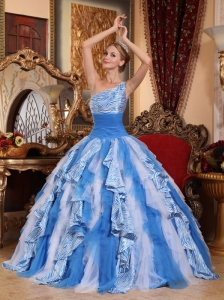 Fashionable Multi-color Quinceanera Dress One Shoulder  Ruffles Ball Gown
