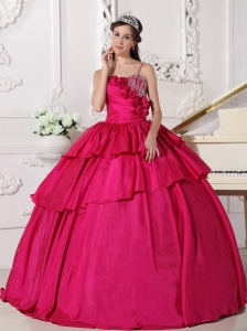 Gorgeous Hot Pink Quinceanera Dress Straps Taffeta Beading Ball Gown