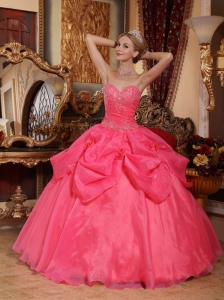Popular Hot Pink Quinceanera Dress Sweetheart Taffeta and Organza Appliques Ball Gown