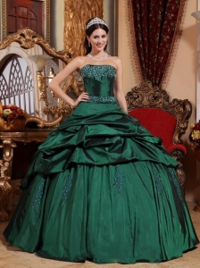 Popular Emerald Green Quinceanera Dress Strapless Taffeta Beading Ball Gown