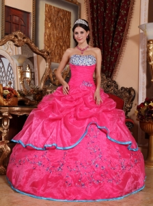 Pretty Rose Pink Quinceanera Dress Strapless Organza Appliques Ball Gown