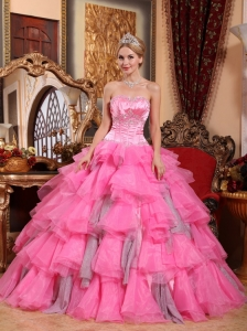 Remarkable Rose Pink Quinceanera Dress Sweetheart Organza Beading Ball Gown
