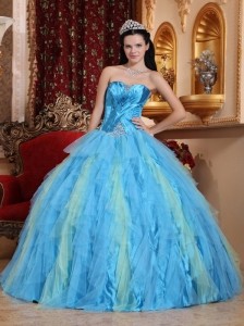 Romantic Aqua Blue Quinceanera Dress Sweetheart Tulle Beading Ball Gown
