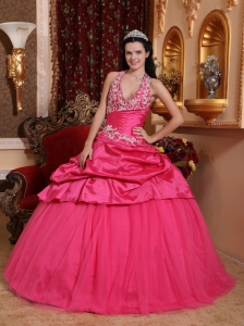 Romantic Hot Pink Quinceanera Dress Halter Taffeta Appliques Ball Gown