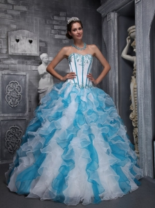 Sweet White and Sky Blue Quinceanera Dress Sweetheart Taffeta and Organza Appliques Ball Gown