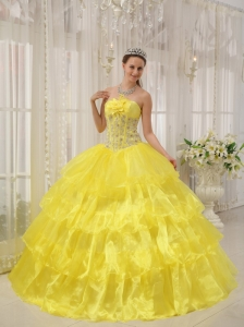 Beautiful Yellow Quinceanera Dress Strapless Taffeta and   Organza Beading Ball Gown