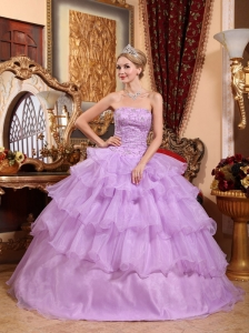 Lovery Lavender Quinceanera Dress Strapless Organza Beading Ball Gown