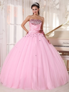 Luxurious Pink Quinceanera Dress Strapless Tulle Beading and Ruch Ball Gown