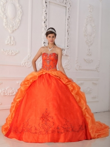 New Orange Red Quinceanera Dress Sweetheart Taffeta Beading and Appliques Ball Gown