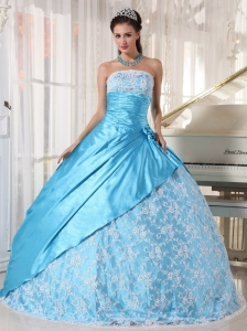 Sweet Aqua Blue Quinceanera Dress Strapless Taffeta Lace Ball Gown