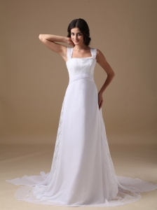 Beautiful A-line Square Court Train Chiffon Lace Wedding Dress