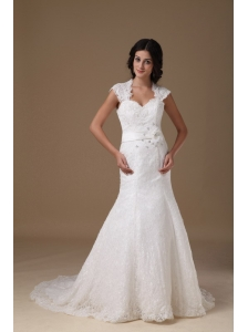Beautiful Mermaid Sweetheart Brush Train Lace Beading Wedding Dress