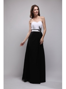 Black and White Column Sweetheart Floor-length Chiffon Appliques Bridesmaid Dress