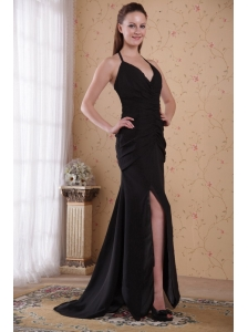 Black Column / Sheath Halter Brush Chiffon Ruch Mother of the Bride Dress