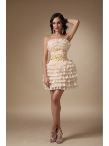 Champagne A-line Strapless Mini-length Organza Beading Cocktail Dress