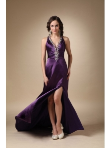 Eggplant Puprle Column V-neck Brush Train Taffeta Beading Prom / Evening Dress