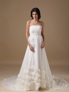 Elegant A-line Strapless Court Train Chiffon Hand Made Flowers Wedding Dress