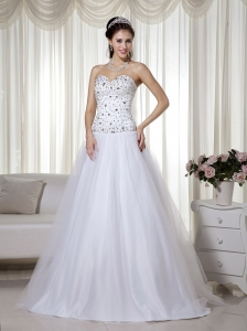 Elegant A-line Sweetheart Floor-length Taffeta and Tulle Beading Wedding Dress
