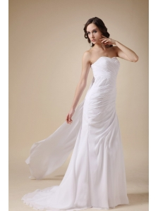 Elegant Watteau Train Chiffon Beach Wedding Dress