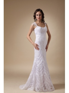 Fashionable Column Square Brush Train Satin and Lace Wedding Dress
