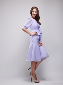 Lilac Column V-neck Knee-length Chiffon Ruch Mother of the Bride Dress