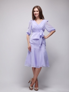 Lilac V-neck Knee-length Chiffon Mother of the Bride Dress