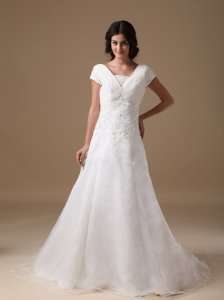 Modest A-line V-neck Court Train Organza and Taffeta Appliques Wedding Dress