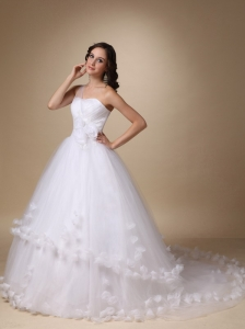 One Shoulder Chapel Train Ball Gown With Hand Made Flowers Wedding Dress