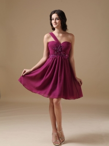 Fuchsia  A-line One Shoulder Mini-length Chiffon Beading Cocktail Dress