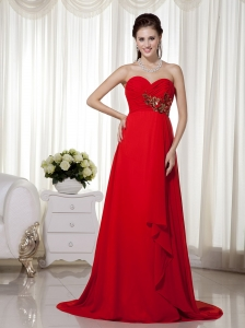 Red Empire Sweetheart Brush Train Chiffon Appliques and Ruch Prom / Celebrity Dress