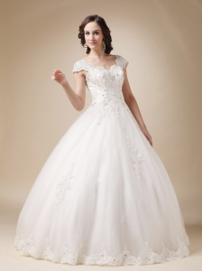Unique Ball Gown V-neck Floor-length Organza and Satin Beading Wedding Dress