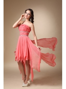 Watermelon Red A-line Strapless Asymmetrical Chiffon Beading Prom / Homecoming Dress