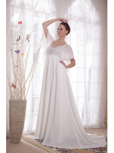 White V-neck Court Train Chiffon Beading Maternity Wedding Dress