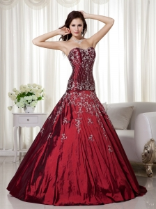 Wine Red A-line Sweetheart Floor-length Taffeta Beading and Embroidery Prom Dress
